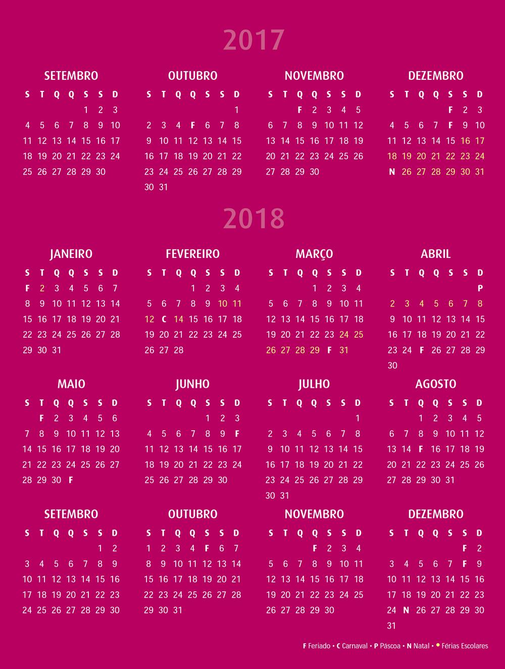 Calendário Escolar 2017 2018 | PLV Escolas